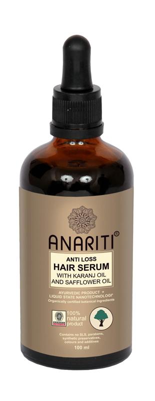 Anariti сыворотка против выпадения волос с маслом каранджи и маслом дикого шафрана,100 г19018Рекомендуется для интенсивного ухода против выпадения волос. Содержит масло караджи, издавна применяемое в аюрведической медицине. Масло караджи питает волосяные фолликулы, обладает anti age эффектом, поддерживает тонус и упругость кожи головы. Сыворотка улучшает микроциркуляцию в сосудах кожи головы, нормализует обмен веществ в фолликулах волос, укрепляет волосы, стимулирует их рост.
