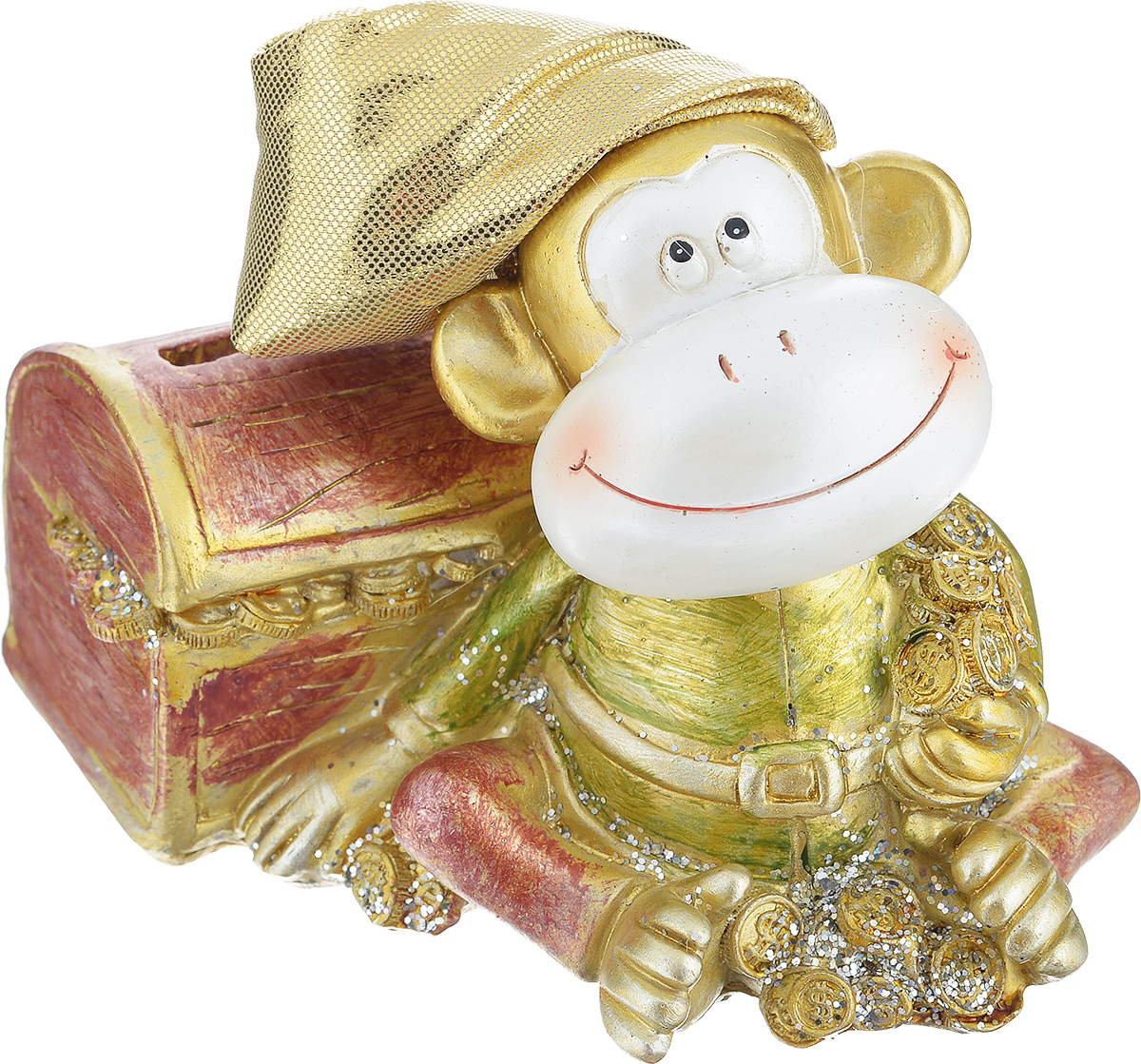 """Декоративная копилка Sima-land """"Обезьянка с сундуком"""", изготовленная из  высококачественного полистоуна, выполнена в виде обезьяны в текстильном колпаке и украшена блестками.  Изделие оснащено отверстием для монет и резиновым клапаном, через который можно достать  деньги. Яркий оригинальный дизайн сделает такую копилку прекрасным подарком. Она послужит не  только по своему прямому назначению, но и красиво дополнит интерьер комнаты."""