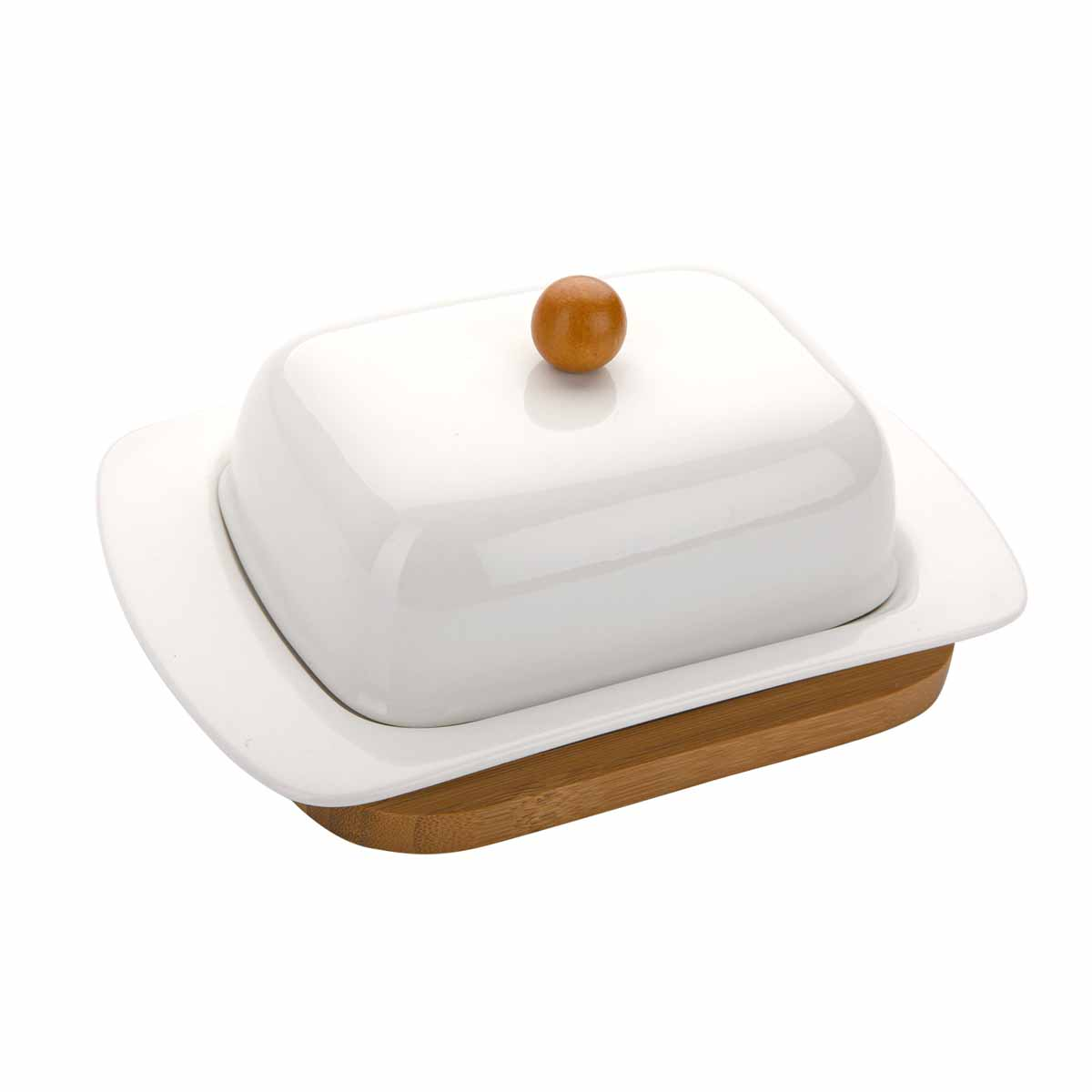 Масленка Dekok, на подставкеPW-2709Масленка Dekok, выполненная из высококачественного фарфора, предназначена для красивой сервировки и хранения масла. Изделие размещено на подставке из бамбука. Благодаря экологичным материалам, масло в такой масленке долго остается свежим, а при хранении в холодильнике не впитывает посторонние запахи. Масленка Dekok станет незаменимой на вашей кухне.Размер масленки (с учетом крышки): 18,5 см х 12 см х 8 см.Размер подставки: 16 см х 12,5 см х 1,1 см.