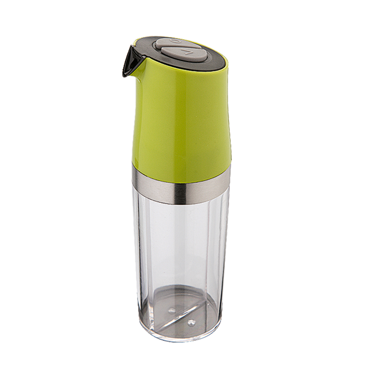 Емкость для масла и уксуса Dekok с дозатором, цвет: прозрачный, фисташковый180917Емкость для масла и уксуса Dekok изготовлена из высококачественного пластика и стали и оснащена специальным дозатором-разбрызгивателем. Она легка в использовании. Прозрачная колба имеет внутри перегородку, благодаря которой в емкости может одновременнонаходится и масло, и уксус. На колбе расположен дозатор, оснащенный двумякнопками. Стоит только нажать кнопку с отметкой О - и вы будетераспылять масло, а на отметку V - распылять только уксус. Быстрои просто!Оригинальная емкость будет отлично смотреться на вашей кухне.Размер емкости (с учетом дозатора): 6 см х 6 см х 19,5 см.