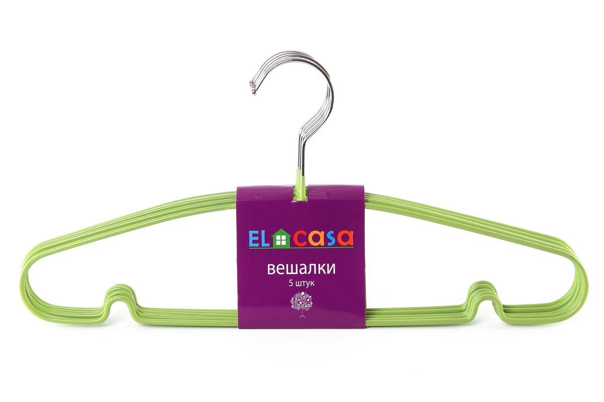 Набор вешалок El Casa, цвет: зеленый, 5 шт150069Набор вешалок El Casa, состоит из 5 однотонных вешалок, изготовленных изметалла c антискользящим покрытием. Изделия имеют легкий ипрочный каркас, закругленные края, перекладину и две выемки для юбок.Вешалка - это незаменимый аксессуар для того, чтобы одежда всегда оставалась в хорошем состоянии.Набор El Casa станет практичным и полезным в вашем гардеробе. С ним вашаодежда избежит ненужных растяжек и провисаний. Комплектация: 5 шт.Размер вешалки: 40,5 см х 0,5 см х 19 см.