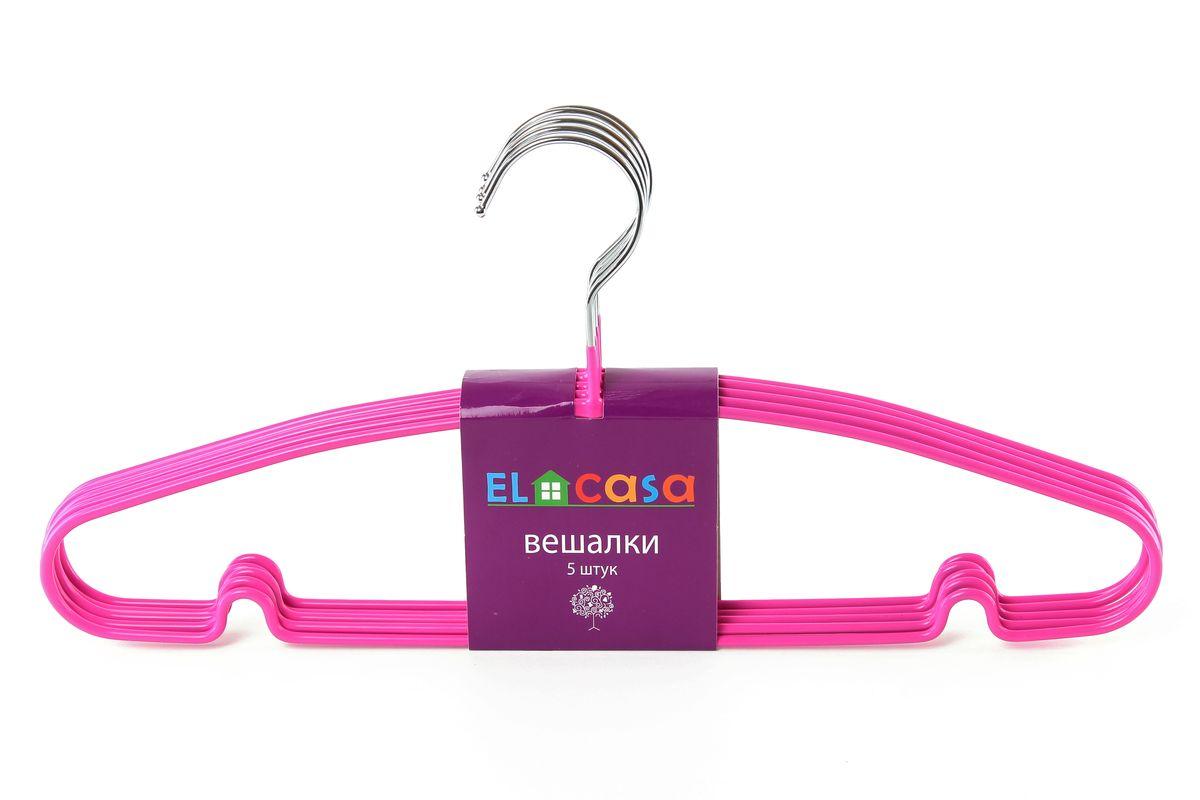 Набор вешалок El Casa, цвет: фуксия, 5 шт150070Набор вешалок El Casa, состоит из 5 однотонных вешалок, изготовленных изметалла c антискользящим покрытием. Изделия имеют легкий ипрочный каркас, закругленные края, перекладину и две выемки для юбок.Вешалка - это незаменимый аксессуар для того, чтобы одежда всегда оставалась в хорошем состоянии.Набор El Casa станет практичным и полезным в вашем гардеробе. С ним вашаодежда избежит ненужных растяжек и провисаний. Комплектация: 5 шт.Размер вешалки: 40,5 см х 0,5 см х 19 см.