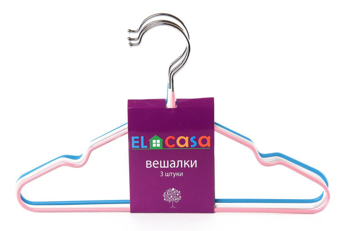 """Набор вешалок """"El Casa"""" состоит из 3 разноцветных вешалок, изготовленных из металла c антискользящим покрытием. Изделия имеют легкий и прочный каркас, закругленные края, перекладину и две выемки для юбок или маечек. Вешалка - это незаменимый аксессуар для того, чтобы одежда всегда оставалась в хорошем состоянии. Комплектация: 3 шт. Размер вешалки: 30 см х 0,4 см х 18,5 см."""