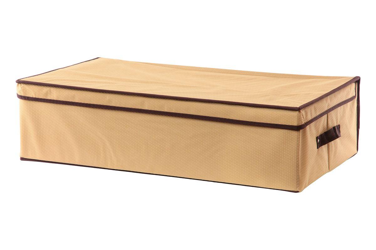 Кофр для хранения El Casa Соты, подкроватный, цвет: бежевый, 70 х 40 х 20 см25051 7_желтыйСкладной кофр El Casa Соты, выполненный из высококачественного нетканого материала, позволяетсохранять естественную вентиляцию. Благодаря картонным вставкам, кофр прекрасно держит форму,складывается и раскладывается одним движением. Для удобства в обращении по бокам имеются ручки. Всложенном виде изделие занимает минимум места, его легко хранить, как на полке так и под кроватью. В такойкофр можно складывать всевозможные предметы: вещи, игрушки, рукоделие и многое другое.Яркий дизайн привнесет в ваш интерьер неповторимый шарм. Размер кофра (в собранном виде): 70 см х 40 см х 20 см.
