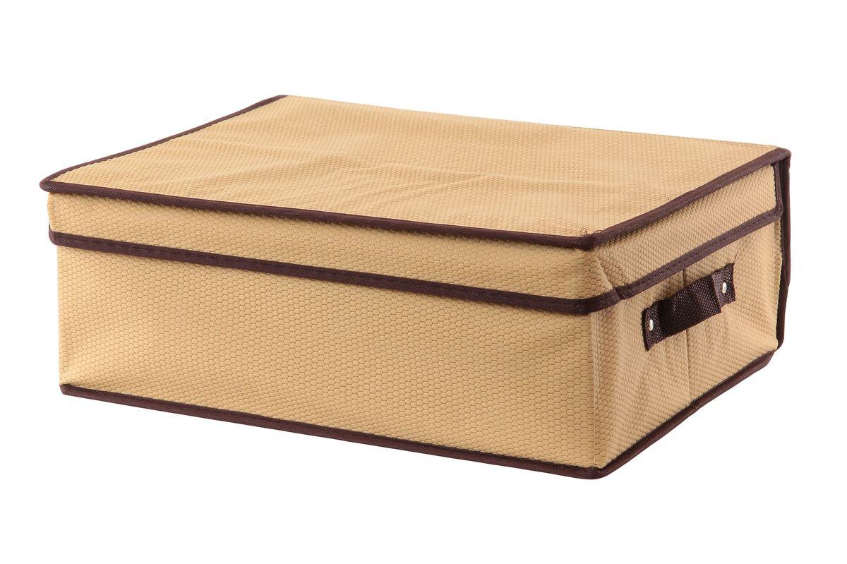 Кофр для хранения El Casa Соты, складной, цвет: бежевый, 40 x 33 x 16 см370044Складной кофр El Casa Соты изготовлен из высококачественного нетканого материала, который обеспечивает естественную вентиляцию, позволяя воздуху проникать внутрь, но не пропускает пыль. Вставки из плотного картона хорошо держат форму. Дляудобства в обращении изделие оснащено ручками. В сложенном виде изделие занимаетминимум места, его легко хранить и перевозить. В таком кофре удобно хранить всевозможные предметы: одежду, белье, книги, игрушки, рукоделие, диски. Яркий дизайн привнесет в ваш интерьер неповторимый шарм.Размер кофра (в собранном виде): 40 см х 33 см х 16 см.