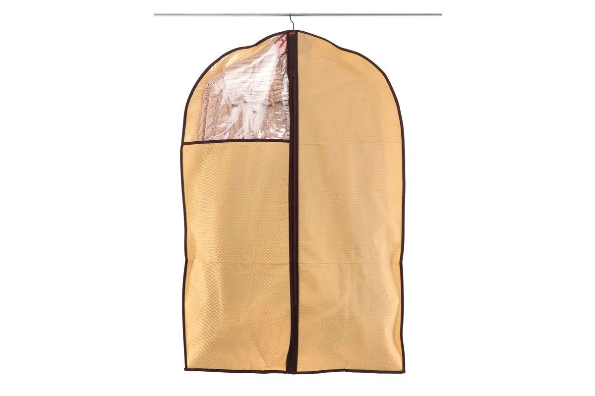 Чехол для одежды El Casa Соты, подвесной, цвет: бежевый, 60 x 90 см370092Подвесной чехол для одежды El Casa Соты изготовлен из высококачественного нетканого материала, который обеспечивает естественную вентиляцию, позволяя воздуху проникать внутрь, но не пропускает пыль. Чехол очень удобен в использовании, а благодаря его форме, одежда не мнетсядаже при длительном хранении. Специальная прозрачная вставка позволяет видеть содержимое внутри чехла, не открывая его. Изделие легко открывается и закрывается застежкой-молнией. Чехол для одежды будет очень полезен при транспортировке вещей на близкие и дальниерасстояния, при длительном хранении сезонной одежды, а также при ежедневном хранениивещей из деликатных тканей.