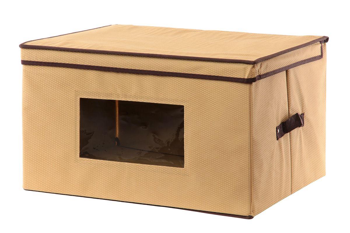 Кофр для хранения El Casa Соты, складной, с прозрачной вставкой, цвет: бежевый, 50 x 40 x 30 см370140Вместительный складной кофр El Casa Соты изготовлен из высококачественного нетканого материала, который обеспечивает естественную вентиляцию, позволяя воздуху проникать внутрь, но не пропускает пыль. Вставки из плотного картона хорошо держат форму, а прозрачная вставка из ПВХ позволяет легко просматривать содержимое. Дляудобства в обращении изделие оснащено ручками. В сложенном виде изделие занимаетминимум места, его легко хранить и перевозить. В таком кофре удобно хранить всевозможные предметы: одежду, белье, книги, игрушки, рукоделие, диски.Оригинальный дизайн сделает вашу гардеробную красивой иневероятно стильной. Размер кофра (в собранном виде): 50 см х 40 см х 30 см.