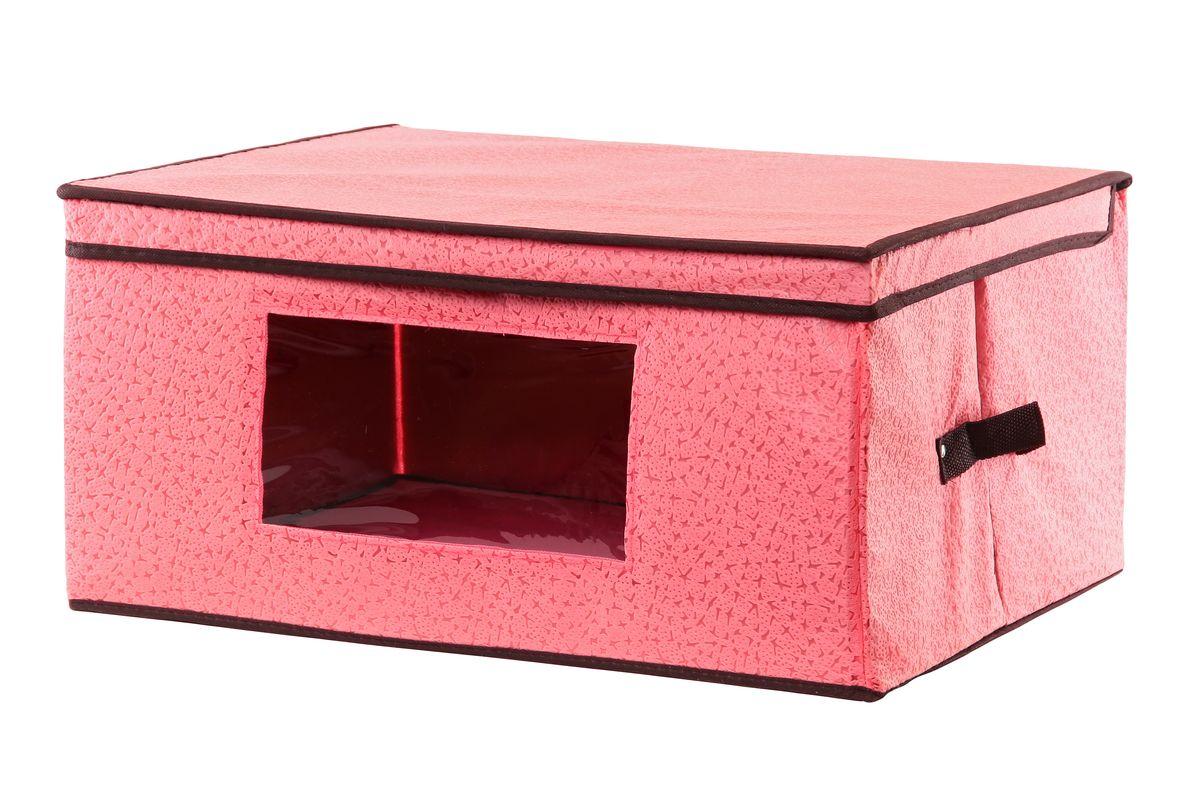 Кофр для хранения El Casa Звезды, складной, с прозрачной вставкой, цвет: розовый, 50 x 40 x 25 см370152Вместительный кофр El Casa Звезды, изготовленный из дышащего нетканого волокна, предназначен для хранения вещей. Кофр снабжен прозрачной вставкой из ПВХ, что позволяет легко просматривать содержимое. Для удобства в обращении по бокам имеются ручки. Специальный нетканый материал позволяет воздуху проникать внутрь, при этом надежно защищая вещи от грязи, пыли и насекомых. Оригинальный дизайн сделает вашу гардеробную красивой и невероятно стильной. Размер кофра (в собранном виде): 50 см х 40 см х 25 см.