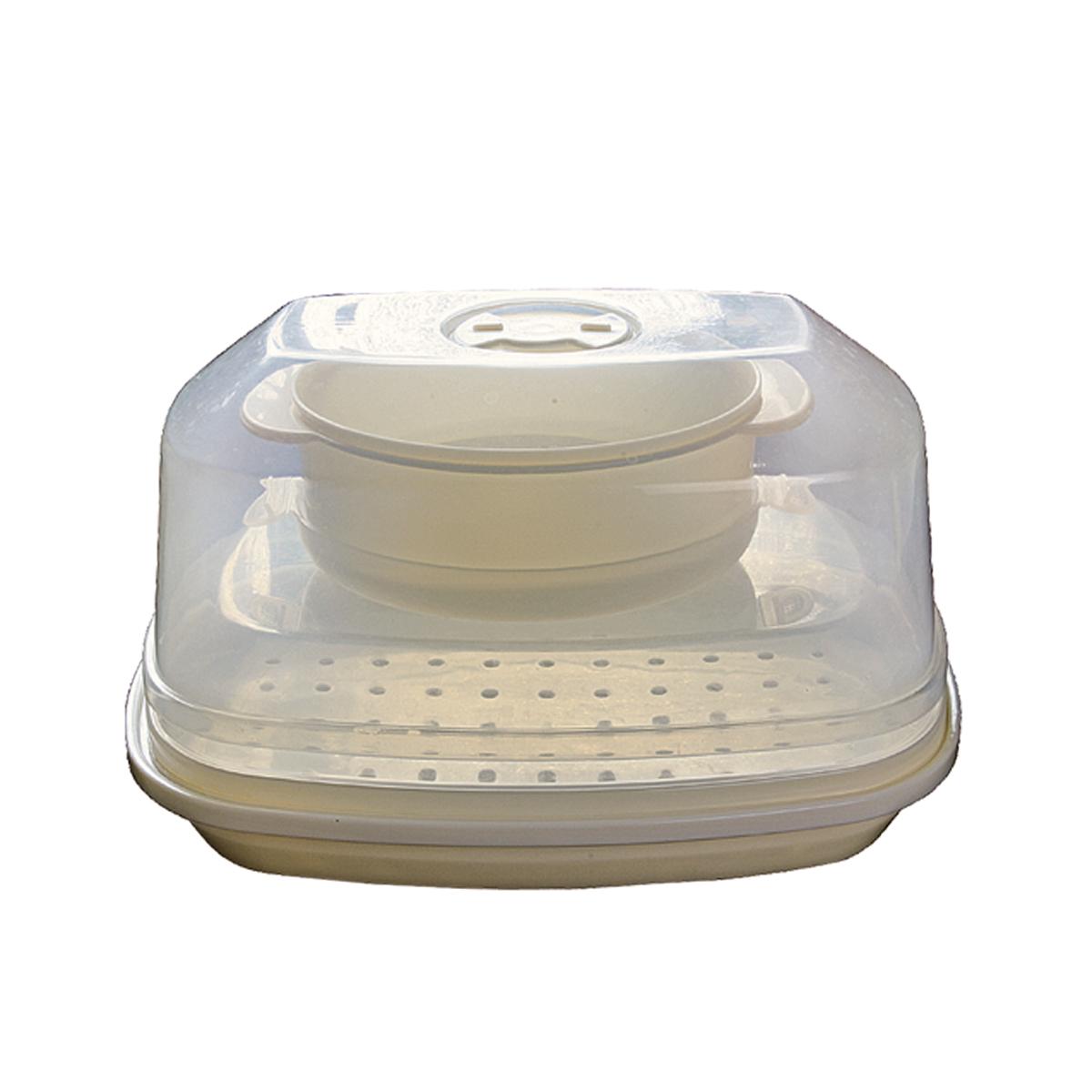 Набор пароварок для СВЧ Dekok, 2 шт. ST-501ST-501Набор Dekok состоит из двух поддонов и трех крышек, предназначенных для приготовления еды в микроволновой печи.Мощность СВЧ печи позволяет существенно ускорить время приготовления продуктов по сравнению с традиционной варкой. За несколько минут вы получаете полноценную здоровую еду! Доказано, что приготовление овощей, рыбных и мясных блюд на пару прекрасно сохраняет витамин С, минеральные вещества и микроэлементы. Пароварка не высушивает продукт, а напитывает его влагой, делая его сочным и мягким. Благодаря встроенному клапану можно контролировать паровое давление.Пароварку с продуктами можно хранить в морозильной камере. Корпус пароварки легко моется в посудомоечной машине. Размер поддонов: 28 см x 19 см x 4 см; 18 см х 12,5 см х 5,5 см.Размер крышек: 18,5 см x 27 см x 11 см; 27,5 см х 18,5 см х 5 см; 19 см х 13 см х 2,5 см.