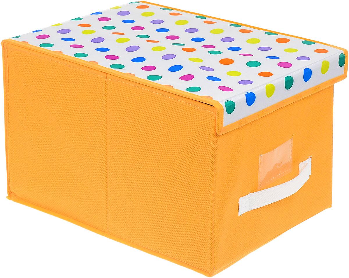Чехол-коробка Cosatto Кидс, цвет: оранжевый, белый, 30 см х 40 см х 25 смCOVLSCBY12KЧехол-коробка Cosatto Кидс поможет легко и красиво организовать пространство в детской комнате. Изделие выполнено из полиэстера и нетканого материала, прочность каркаса обеспечивается наличием внутри плотных и толстых листов картона. Чехол-коробка закрывается крышкой на две липучки, что поможет защитить вещи от пыли и грязи. Сбоку имеется ручка.Такой чехол идеально подойдет для хранения игрушек и детских вещей. Яркий дизайн изделия привлечет внимание ребенка и вызовет у него желание самостоятельно убирать игрушки. Складная конструкция обеспечивает компактное хранение.