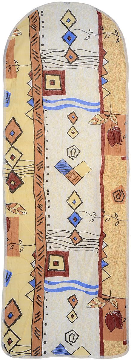 """Фото Чехол для гладильной доски """"Eva"""", цвет: желтый, бежевый, 125 х 47 см"""