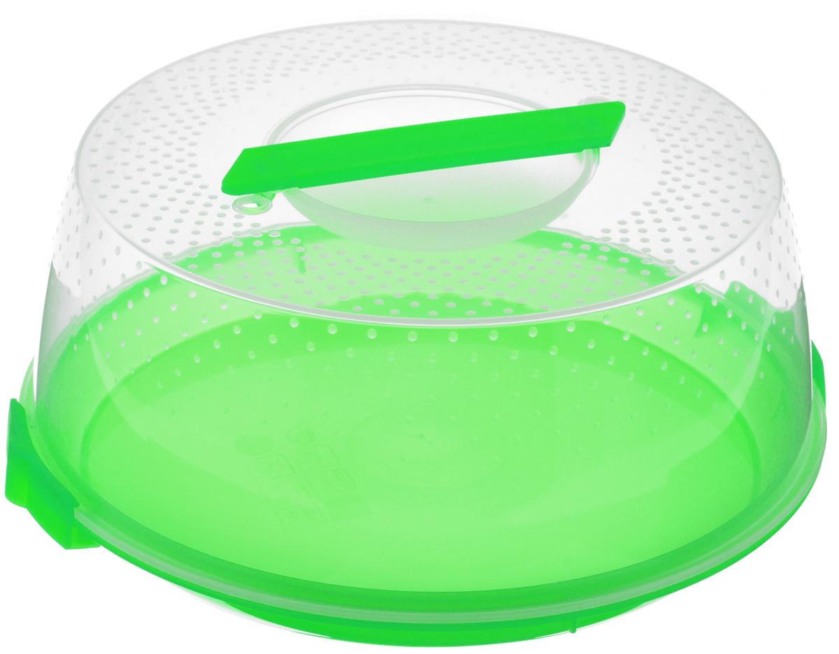 Тортница Cosmoplast Оазис, цвет: салатовый, прозрачный, диаметр 28 см2127_салатовыйТортница Cosmoplast Оазис изготовлена из высококачественного прочного пищевого пластика. Тортница имеет удобную ручку для переноски и прочные фиксаторы крышки. Может использоваться в микроволновой печи и морозильной камере (выдерживает температуру от -30°С до +115°С). Очень гигиенична и легко моется.Можно мыть в посудомоечной машине.Диаметр тортницы: 28 см.Внутренний диаметр тортницы: 26 см.Высота тортницы: 12 см.
