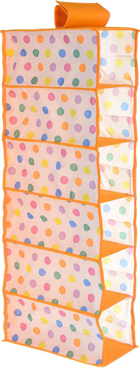 Чехол подвесной Cosatto Кидс, цвет: оранжевый, белый, 15 см х 30 см х 84 смCOVLSZBY10KПодвесной чехол Cosatto Кидс с ярким принтом в цветной горошек поможет решить проблему хранения детских вещей. Изделие выполнено из полиэстера и нетканого материала, прочность каркаса обеспечивается наличием внутри плотных листов картона. Легкая подвесная конструкция с 6 вместительными секциями позволяет удобно хранить одежду, постельное белье, аксессуары или игрушки. Изделие может крепиться на штангу в обычном платяном шкафу или на отдельные напольные или настенные штанги. Привлекательный дизайн секции вызовет у ребенка желание самостоятельно наводить порядок.