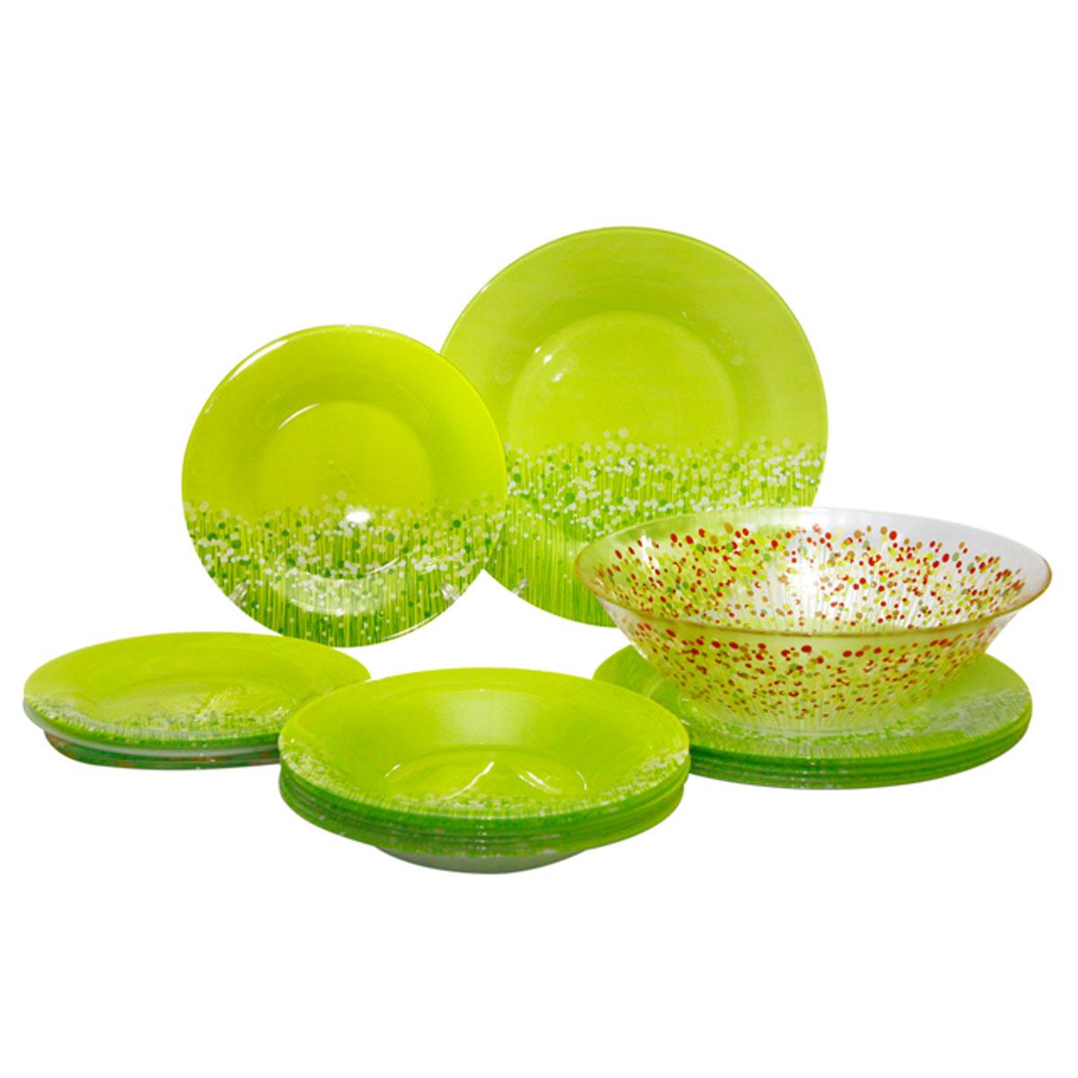 Набор столовой посуды Luminarc FlowerFields Anis, цвет: салатовый, красный, 19 предметовH2499Набор Luminarc FlowerFields Anis состоит из 6 суповых тарелок, 6 обеденных тарелок, 6 десертных тарелок и глубокого салатника. Изделия выполнены из ударопрочного стекла, имеют яркий дизайн с рисунком по краю и классическую круглую форму. Посуда отличается прочностью, гигиеничностью и долгим сроком службы, она устойчива к появлению царапин и резким перепадам температур. Такой набор прекрасно подойдет как для повседневного использования, так и для праздников или особенных случаев. Набор столовой посуды Luminarc FlowerFields Anis - это не только яркий и полезный подарок для родных и близких, а также великолепное дизайнерское решение для вашей кухни или столовой. Можно мыть в посудомоечной машине и использовать в микроволновой печи. Диаметр суповой тарелки: 21,5 см. Высота суповой тарелки: 3 см.Диаметр обеденной тарелки: 25 см. Высота обеденной тарелки: 1,5 см. Диаметр десертной тарелки: 19,5 см. Высота десертной тарелки: 1,8 см. Диаметр салатника: 27 см. Высота стенки салатника: 8,5 см.