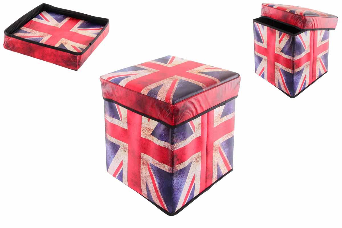 Пуфик складной El Casa Британский флаг, с ящиком для хранения, 31 см х 31 см х 31 см171145Складной пуфик El Casa Британский флаг, выполненный из МДФ и экокожи, понравится всем ценителям оригинальных вещей. Благодаря удобной конструкции складывается и раскладывается одним движением. В сложенном виде изделие занимает минимум места, его легко хранить и перевозить. В таком пуфике можно хранить всевозможные предметы: книги, игрушки, рукоделие. Яркий дизайн привнесет в ваш интерьер неповторимый шарм.Размер пуфика (в собранном виде): 31 см х 31 см х 31 см.