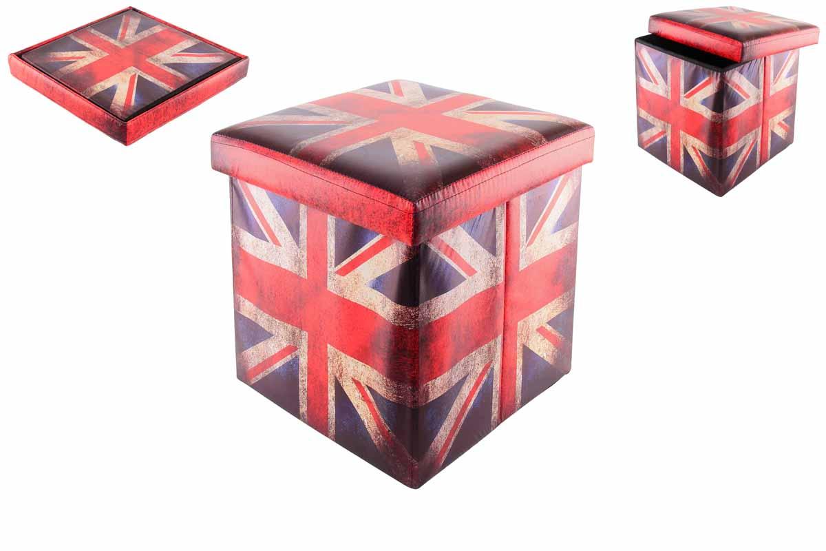 Пуфик складной El Casa Британский флаг, с ящиком для хранения, 35 х 35 х 35 см171148Складной пуфик El Casa Британский флаг, выполненный из МДФ и экокожи, понравится всем ценителям оригинальных вещей. Благодаря удобной конструкции складывается и раскладывается одним движением. В сложенном виде изделие занимает минимум места, его легко хранить и перевозить. В таком пуфике можно хранить всевозможные предметы: книги, игрушки, рукоделие. Яркий дизайн привнесет в ваш интерьер неповторимый шарм.Размер пуфика (в собранном виде): 35 см х 35 см х 35 см.