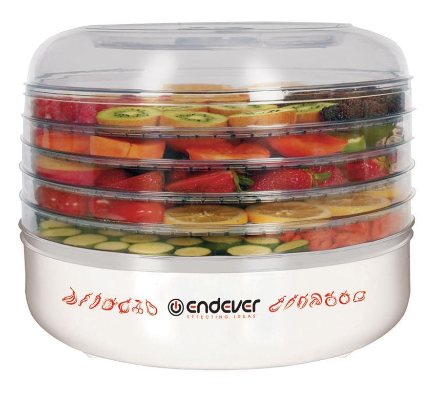 Endever FD-56 электросушилкаFD-56Автоматическая электросушилка Endever SkyLine FD-56 — это быстраяэффективная сушка продуктов путем естественной де-гидратации бездобавления консервантов, искусственных ароматизаторов и прочиххимических добавок, это 100% сохранность вкуса, аромата ивитаминовС помощью данной электросушилки Вы можете высушить любые овощи, фрукты, ягоды, грибы, зелень, травы, цветы, а также приготовить различные приправы, мармелад или пастилу, вяленое мясо, сушеную рыбу, йогурт.