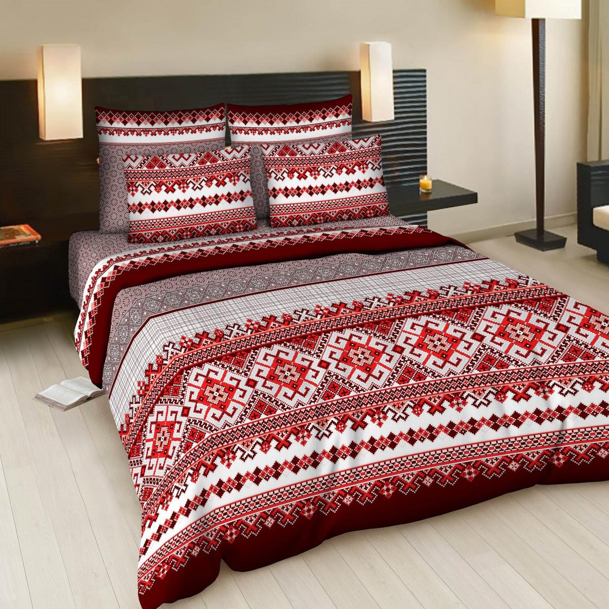 Комплект белья Letto Народные узоры, 2-спальный, наволочки 70х70, цвет: красный, белый, бордовый комплект белья letto народные узоры 1 5 спальный наволочки 70х70 цвет красный белый бордовый