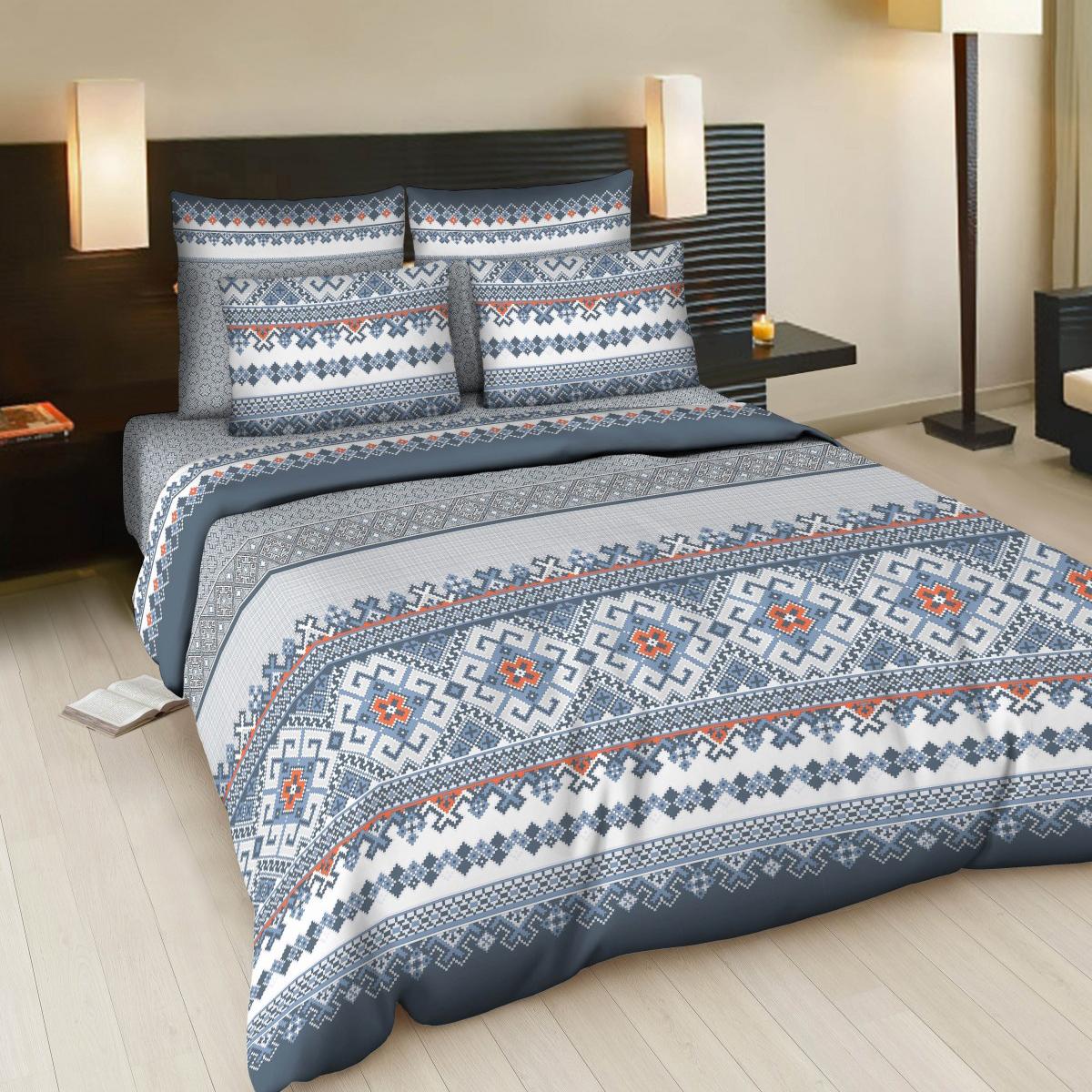Комплект белья Letto Народные узоры, 1,5-спальный, наволочки 70х70, цвет: синий, белый