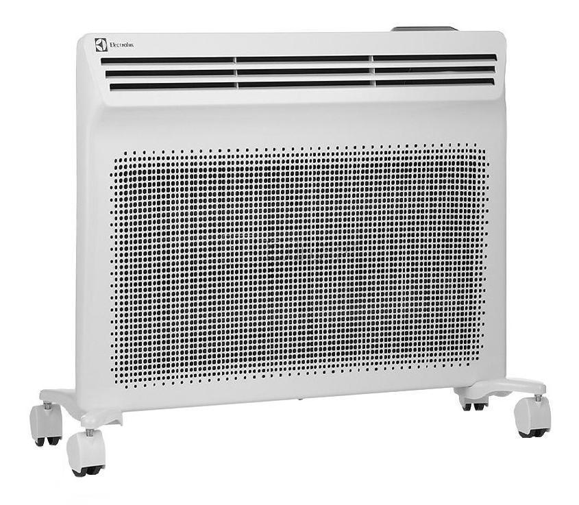 Electrolux EIH/AG2–1000 E конвекторEIH/AG2–1000 EElectrolux создает обновленную версию модели Air Heat – cамого совершенного типа обогревателей, который сочетает одновременно два типа обогрева – конвективный и инфракрасный.Прибор получился экономичным за счет того, что тепловая энергия достигает обогреваемых поверхностей без потерь, обеспечивая рациональное распределение тепла. Эффективен в помещениях с любой теплоизоляцией.В серии Air Heat 2 реализована система комбинированного обогрева Y-DUOS из 2-х нагревательных элементов. Скорость нагрева выше на 15% по сравнению с аналогичными решениями благодаря большей поверхности теплоотдачи. Y-DUOS позволяет создавать широкий поток инфракрасных лучей и нагревать большой объем воздуха, участвующего в конвективном движении. Высокотехнологичное покрытие нагревательного элемента Anodic Coat усиливает мощность инфракрасного излучения, увеличивая радиус действия до 20%. Срок службы нагревательного элемента составляет не менее 25 лет.