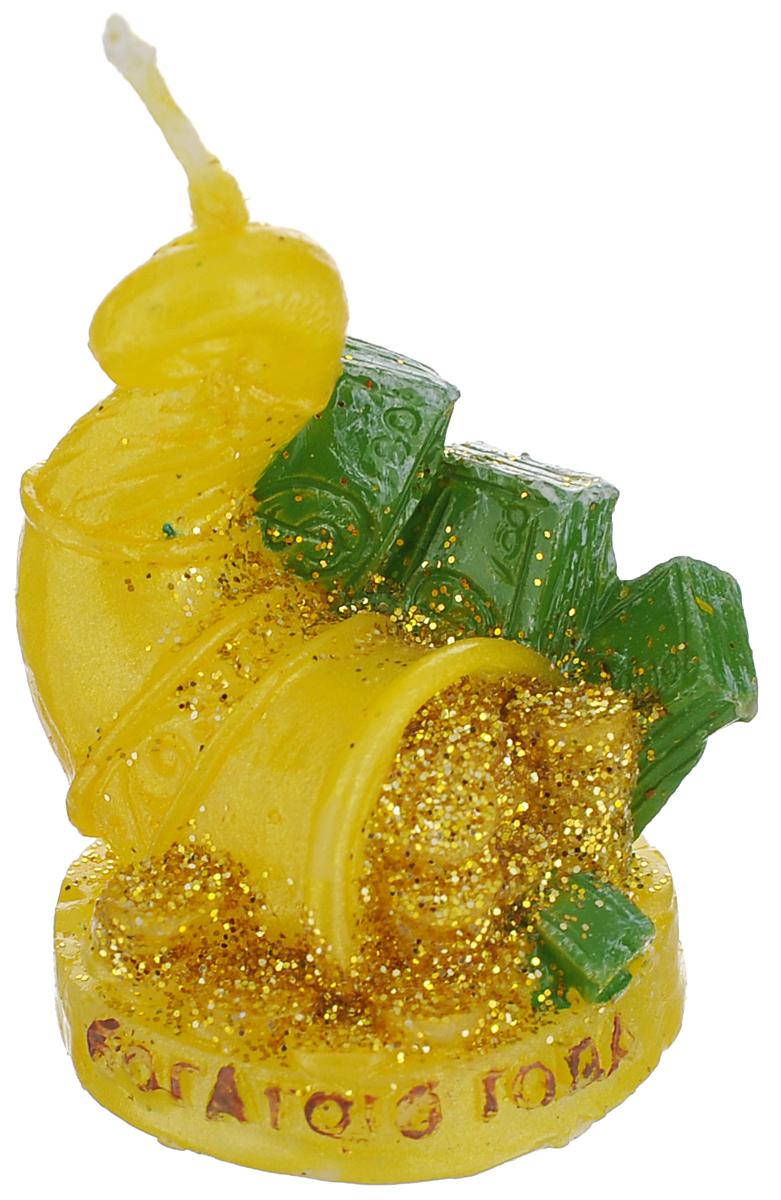 """Декоративная свеча Sima-land """"Богатого года"""" выполнена из воска в виде рога изобилия с деньгами. Изделие отличается ярким дизайном, который понравится всем.   Такая свеча может стать отличным подарком или дополнить интерьер вашей  комнаты."""