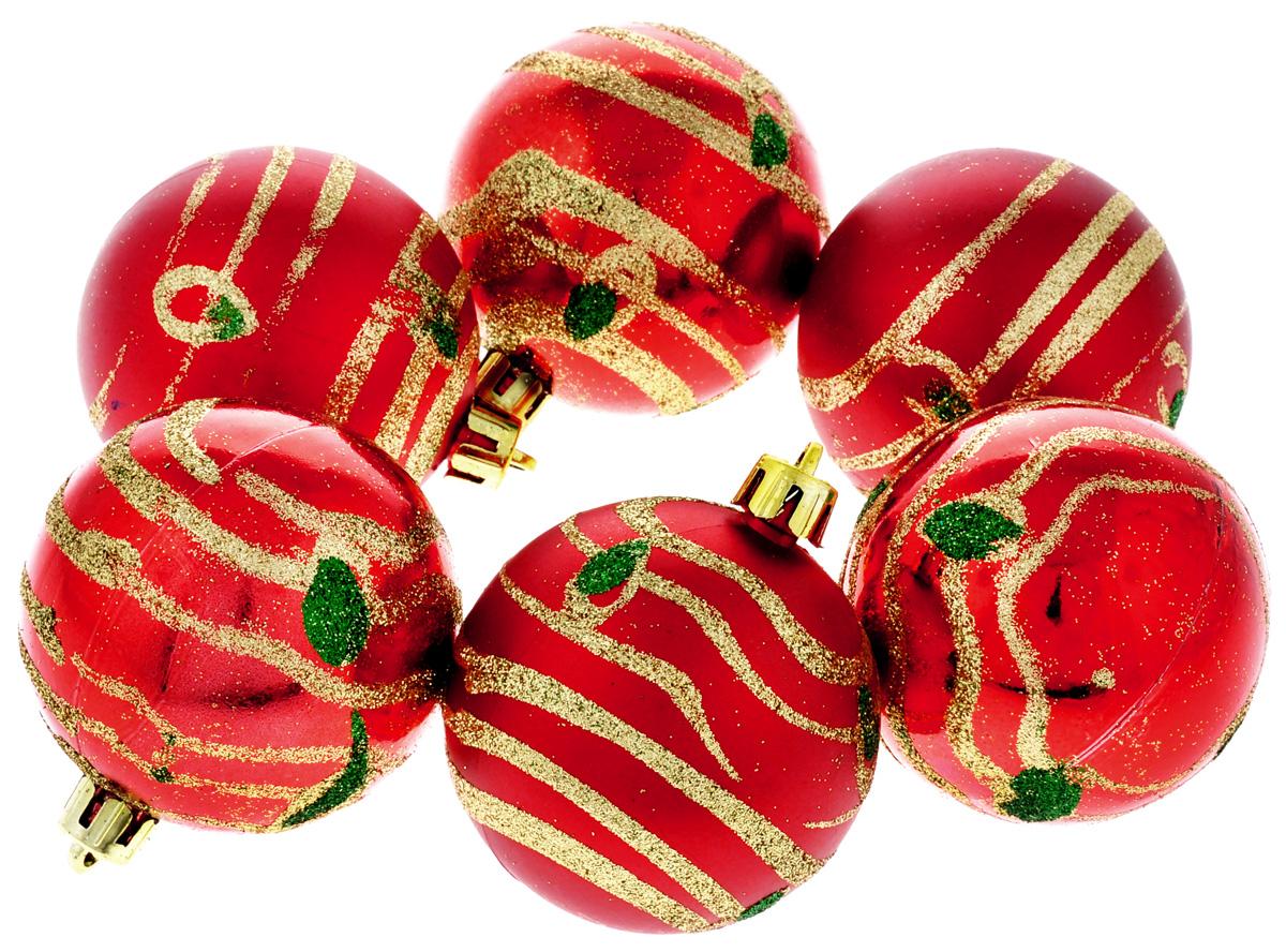 Набор новогодних подвесных украшений Феникс-Презент Жар-птица, цвет: красный, золотистый, диаметр 6 см, 6 шт35545Набор новогодних подвесных украшений Феникс-Презент Жар-птица прекрасно подойдет для праздничного декора вашей ели. Набор состоит из 6 пластиковых украшений в виде матовых и глянцевых шаров, декорированных блестками. Для удобного размещения на елке для каждого украшения предусмотрена текстильная петелька.Елочная игрушка - символ Нового года. Она несет в себе волшебство и красоту праздника. Создайте в своем доме атмосферу веселья и радости, украшая новогоднюю елку нарядными игрушками, которые будут из года в год накапливать теплоту воспоминаний. Откройте для себя удивительный мир сказок и грез. Почувствуйте волшебные минуты ожидания праздника, создайте новогоднее настроение вашим дорогим и близким.