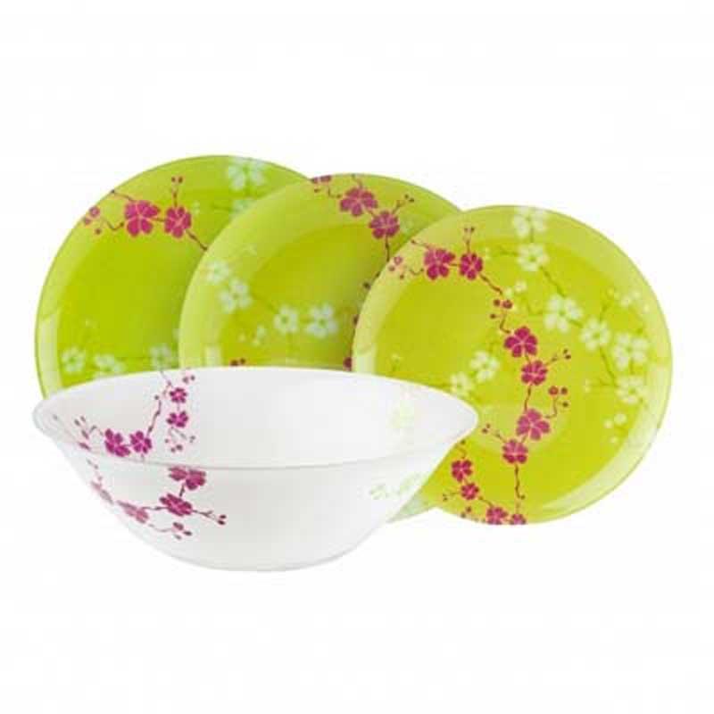 Набор столовой посуды Luminarc Kashima, 19 предметовG9953Набор Luminarc Kashima состоит из 6 суповых тарелок, 6 обеденныхтарелок, 6 десертных тарелок и глубокого салатника. Изделия выполнены изударопрочного стекла, имеют яркий дизайн с изящным цветочным рисунком вяпонском стиле и классическую круглую форму. Посуда отличается прочностью,гигиеничностью и долгим сроком службы, она устойчива к появлению царапин ирезким перепадам температур.Такой набор прекрасно подойдет как для повседневного использования, так идля праздников или особенных случаев.Набор столовой посуды Luminarc Kashima - это не только яркий иполезный подарок для родных и близких, а также великолепное дизайнерскоерешение для вашей кухни или столовой.Можно мыть в посудомоечной машине и использовать в микроволновой печи. Диаметр суповой тарелки: 20,5 см.Высота суповой тарелки: 3,2 см. Диаметр обеденной тарелки: 25 см.Высота обеденной тарелки: 2 см.Диаметр десертной тарелки: 20 см.Высота десертной тарелки: 1,9 см.Диаметр салатника: 27 см.Высота стенки салатника: 8,5 см.