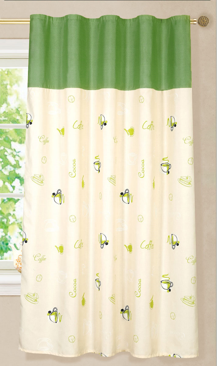 Штора готовая для кухни Garden Чашка кофе, на ленте, цвет: темно-зеленый, бежевый, высота 180 см. С 6333 - W1687 - W1687 V5С 6333 - W1687 - W1687 V5_темно-зеленыйЭлегантная портьерная штора Garden выполнена из 100% полиэстера. Плотная ткань, приятная цветовая гамма и яркий рисунок привлекут к себе внимание и органично впишутся в интерьер помещения.Эта штора будет долгое время радовать вас и вашу семью!Штора крепится на карниз при помощи ленты, которая поможет красиво и равномерно задрапировать верх.