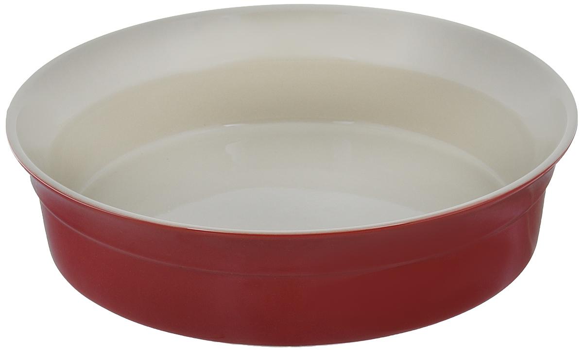 Блюдо для запекания BergHOFF Geminis, круглое, цвет: красный, бежевый, диаметр 25 см