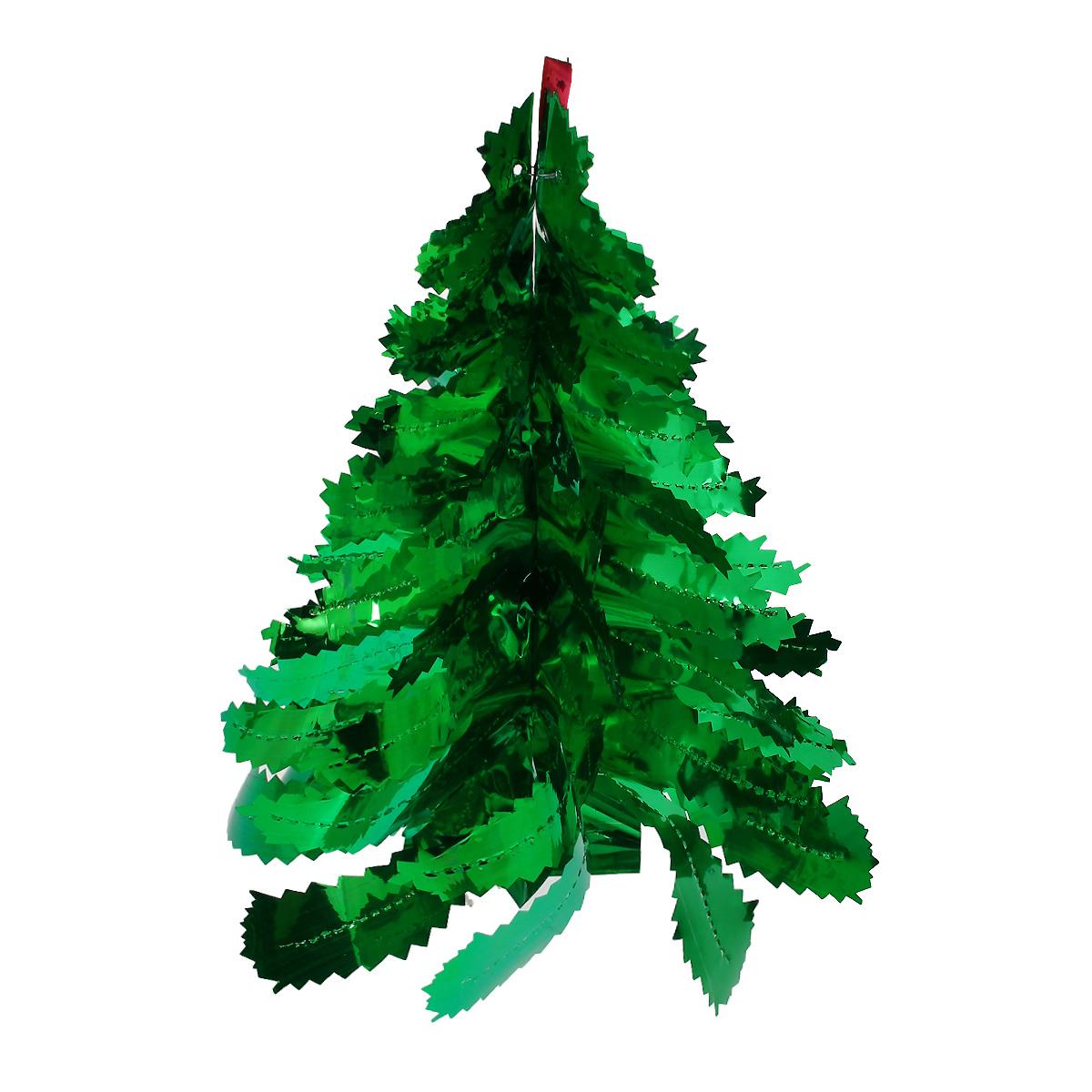 Новогодняя гирлянда Феникс-Презент Елочка зеленая, цвет: зеленый, 17,5 х 36 см