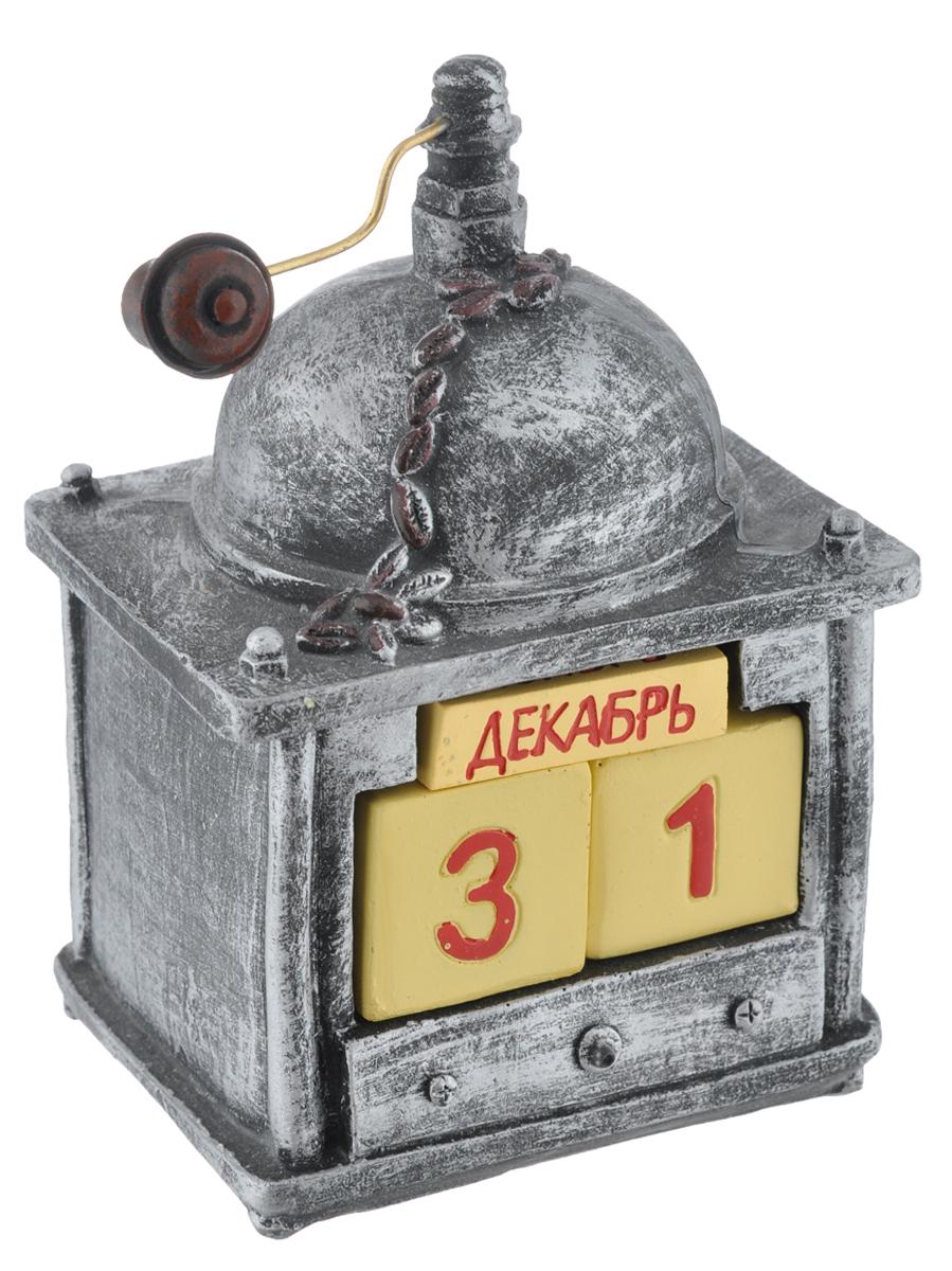 Календарь декоративный Феникс-презент Кофемолка33356Декоративный календарь Феникс-презент выполнен из полирезина в виде кофемолки. Дата на календаре устанавливается вручную с помощью кубиков, на которых указаны числа и названия месяцев. Кубики вложены в специальную нишу в календаре и легко вынимаются. Настольный прибор послужит отличным и оригинальным украшением стола.