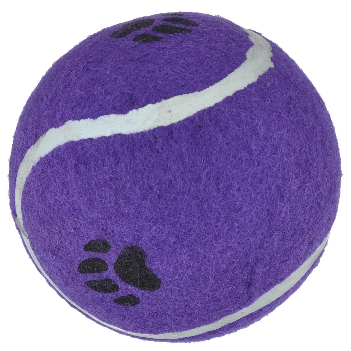 """Игрушка для собак I.P.T.S. """"Мячик теннисный с отпечатками лап"""", цвет: фиолетовый, диаметр 10 см"""