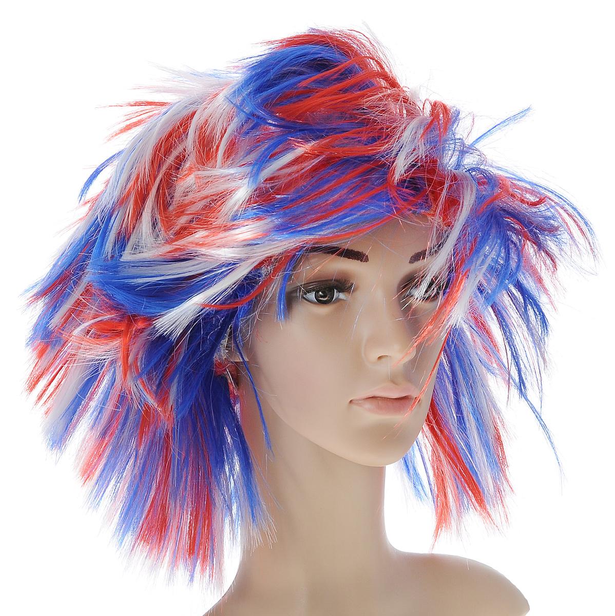 Парик маскарадный Феникс-презент Бунтарка, цвет: белый, синий, красный маскарадный парик женский взрослый