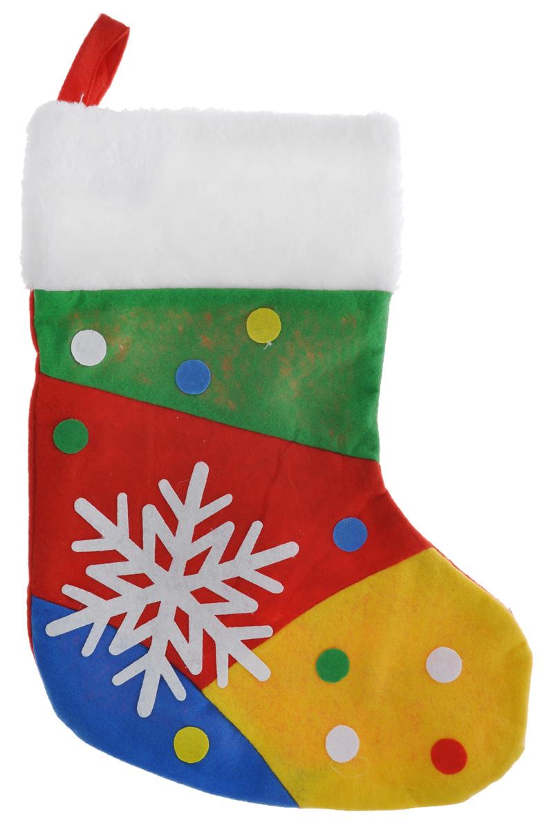Новогодний носок для подарков EuroHouse Фантазер, цвет: красный, зеленый, желтый, синийЕХ 7464Новогодний носок EuroHouse Фантазер, выполненный из фетра, декорирован аппликацией снежинки и разноцветных кружков. Этот праздничный аксессуар предназначен специально для новогодних и рождественских подарков. С помощью петельки его можно подвесить в любое понравившееся место.Традиция класть подарки в новогодние чулки (в Европе эти же чулки называются рождественскими) появилась в нашей стране относительно недавно, но уже пользуется популярностью. Чулки, как и другие новогодние украшения, создают в доме атмосферу тепла и уюта, сближая всю семью. Особенно эта традиция приводит в восторг детей. Да и взрослому будет не менее интересно получить подарок в такой оригинальной упаковке.