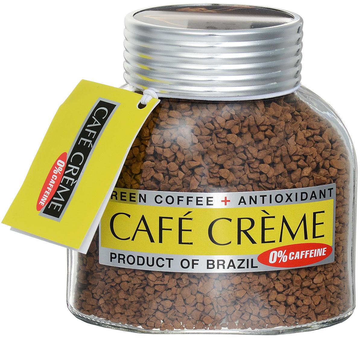 Cafe Creme декофеинизированный растворимый кофе, 100 г4607141337567Cafe Creme идеален для приготовления Кафе де манья- завтрака по-бразильски, состоящего из одной чашечки очень горячего и очень крепкого кофе. Добавив две чайные ложечки меда и лимонный сок по вкусу, можно приготовить легендарный напиток здоровья и долголетия, укрепляющий иммунитет. Именно его употребляют в течение дня жители Эспирито-Санто, горной местности на юго-востоке Бразилии, где произрастает один из лучших сортов бразильской арабики. Кроме того, этот кофе не содержит кофеина!