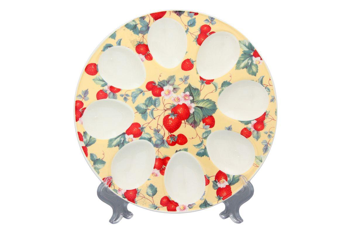 Тарелка для фаршированных яиц Elan Gallery Земляника, цвет: желтый, красный, зеленый, диаметр 20 см101020Тарелка для фаршированных яиц Elan Gallery Земляника выполнена из керамики и украшена изображением ягод и цветов. На изделии имеются специальные углубления для 8 яицТакая тарелка украсит сервировку вашего стола и подчеркнет прекрасный вкус хозяйки. Диаметр тарелки: 20 см. Высота тарелки: 2 см.Не рекомендуется применять абразивные моющие средства. Не использовать в микроволновой печи.
