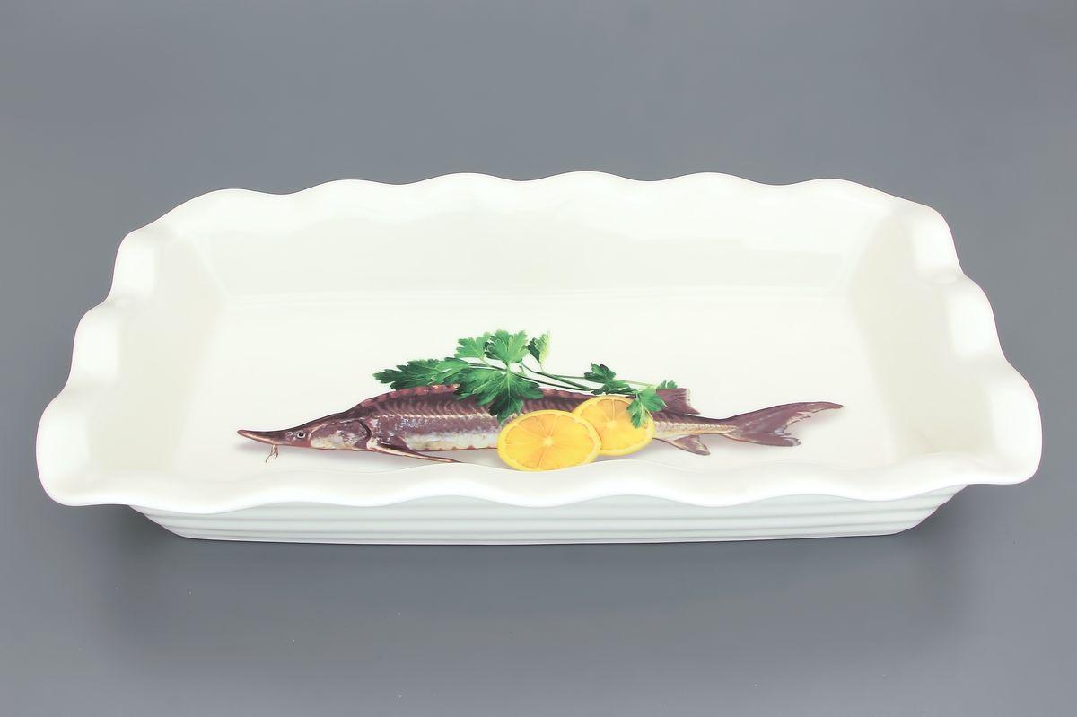 Блюдо для заливного Elan Gallery Осетр, 650 мл101212Сервировочное блюдо Elan Gallery Осетр, изготовленное из керамики, прекрасно подойдет для заливного или холодца и для хранения слоеных салатов. Блюдо оформлено рисунком с изображением осетра. Такое блюдо украсит сервировку вашего стола и подчеркнет прекрасный вкус хозяйки. Не использовать в микроволновой печи.Размер блюда (Д х Ш х В): 27 см х 15 см х 4,5 см.