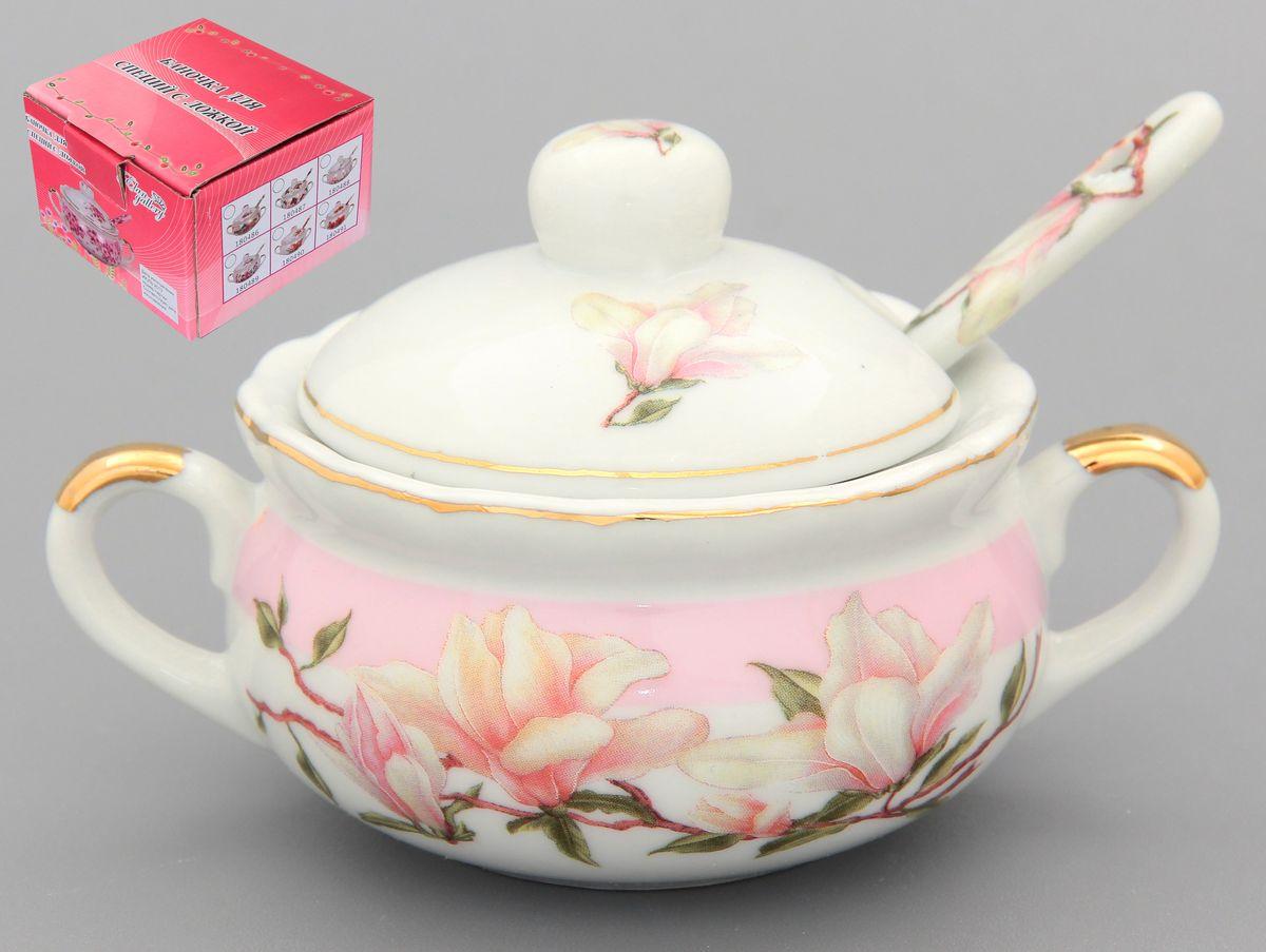 Баночка для специй Elan Gallery Орхидея на розовом, с ложкой, 110 мл
