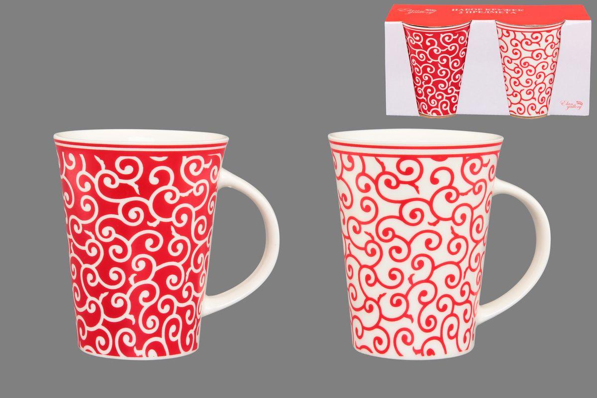 Набор кружек Elan Gallery Арабески, цвет: белый, красный, 320 мл, 2 шт elan gallery