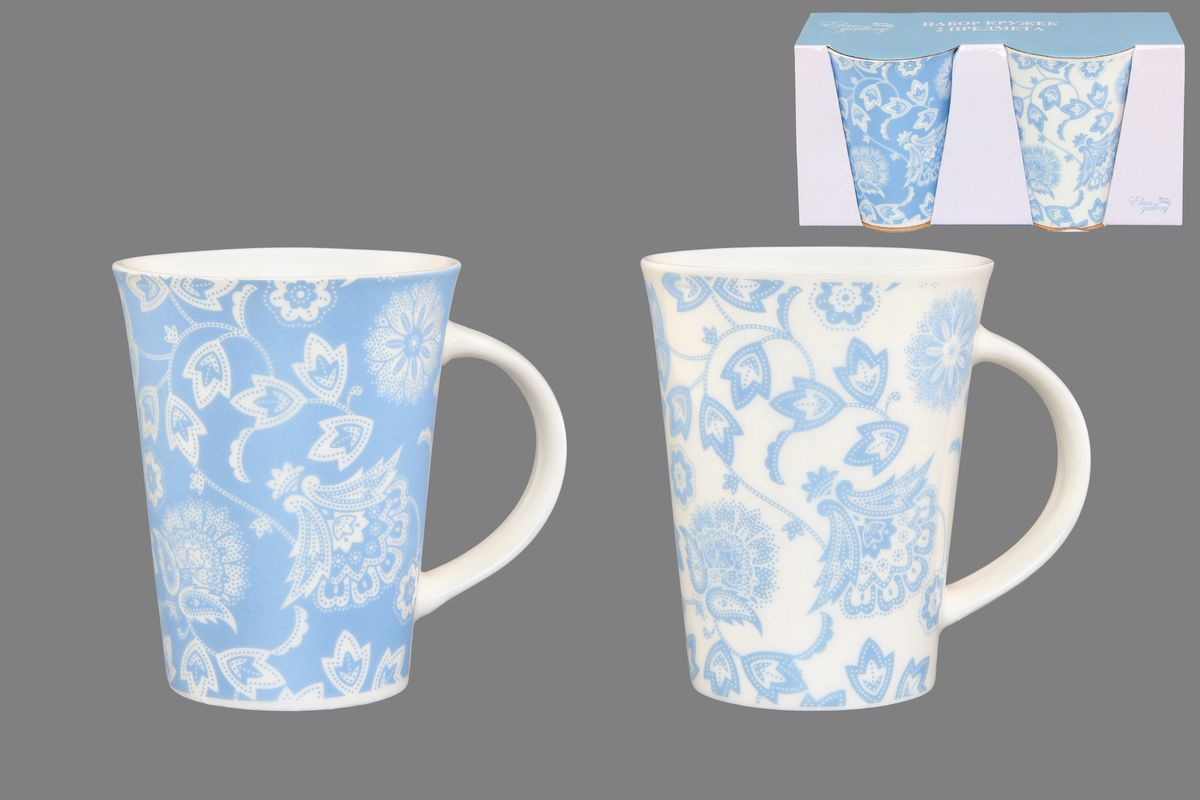 Набор кружек Elan Gallery Изящные цветы, цвет: белый, голубой, 320 мл, 2 шт кружки elan gallery набор кружек цветы белые капучино