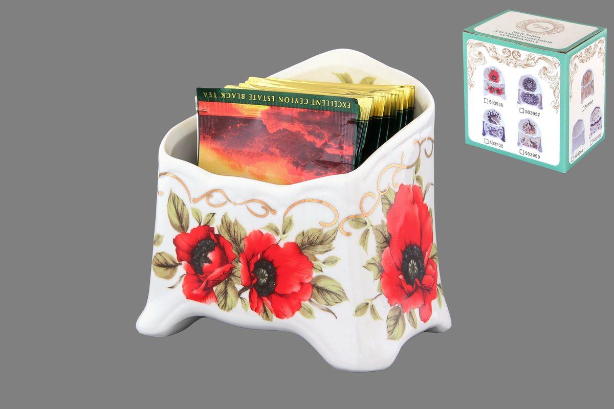 Подставка сервировочная для чайных пакетиков Elan Gallery Маки, цвет: красный, зеленый, белый подставки для чайных пакетиков elan gallery подставка под чайный пакетик белый шиповник