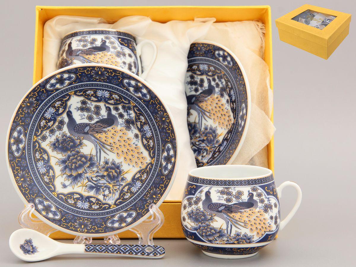 Кофейная пара Elan Gallery Павлин, 4 предмета с ложками, цвет: синий набор чайных пар elan gallery павлин синий с ложками 6 предметов