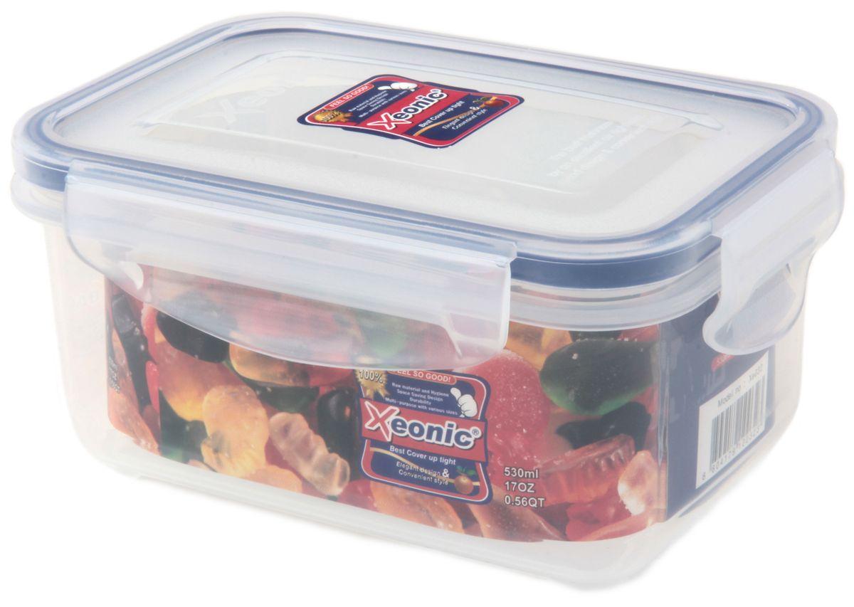 """Пластиковый герметичный контейнер для хранения продуктов """"Xeonic"""" произведен из высококачественных материалов, имеет 100% герметичность, термоустойчив, может быть использован в микроволновой печи и в морозильной камере, устойчив к воздействию масел и жиров, не впитывают запах. Удобен в использовании, долговечен, легко открывается и закрывается, не занимает много места, можно мыть в посудомоечной машине.   Размеры контейнера: 14,5 х 9 х 7 см."""