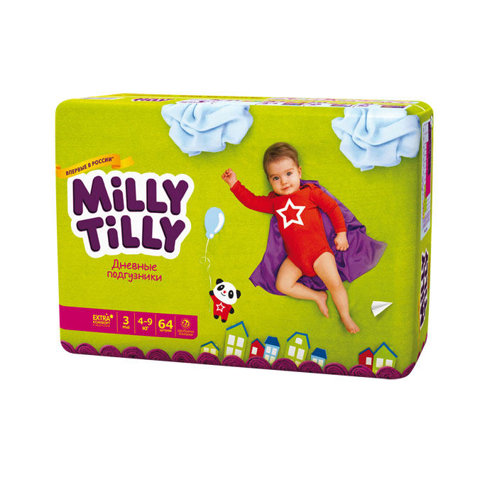 Milly Tilly Подгузники дневные Midi 4-9 кг 64 шт