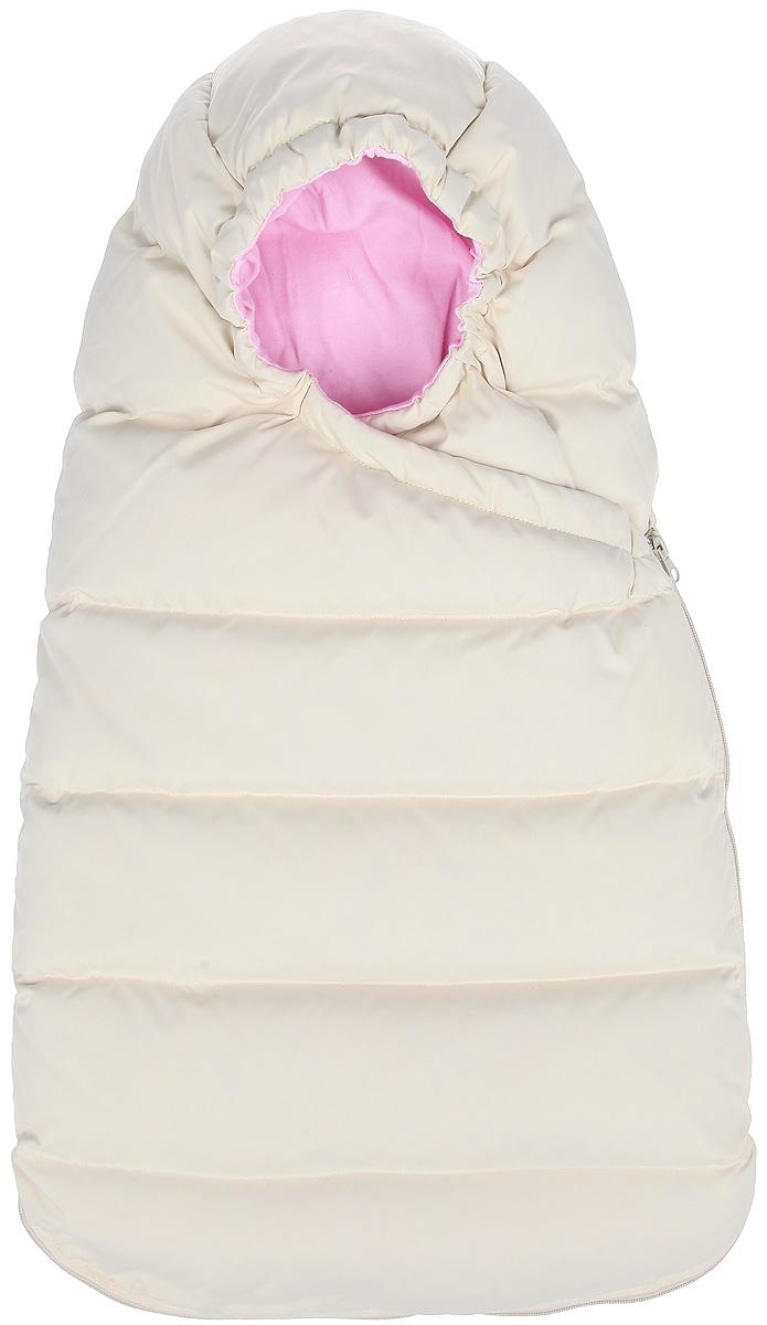 Конверт для девочки Ёмаё, цвет: светло-бежевый, розовый. 48-111. Возраст 0/6 месяцев48-111Теплый конверт для девочки Ёмаё идеально подойдет для вашей малышки в холодное время года. Выполненный из 100% полиэстера на мягкой хлопковой подкладке, он удивительно мягкий и приятный на ощупь, не сковывает движения и хорошо сохраняет тепло. В качестве утеплителя используется гусиный пух с добавлением пера.Верхняя часть конверта, присборенная по краю на резинку, используется как капюшон и надежно закрывает ушки от холода и ветра. Конверт закрывается при помощи пластиковой застежки-молнии и кнопок, и при необходимости он полностью раскладывается в удобный коврик для пеленания или игр.Комфортный, удобный и практичный конверт идеально подойдет для прогулок на свежем воздухе!