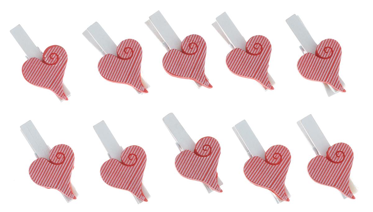 Декоративная прищепка Феникс-презент Сердечки, цвет: красный, белый, 10 шт36934Набор Феникс-презент Сердечки состоит из 10 декоративных украшений на прищепке, изготовленных из полирезина и дерева. Изделия станут прекрасным дополнением к оформлению вашего интерьера. Они используются для развешивания стикеров на веревке, маленьких игрушек, а оригинальность и веселые цвета прищепок будут радовать глаз и поднимут настроение.Длина прищепки: 4,5 см. Размер декоративной части прищепки: 2,5 см х 3 см.