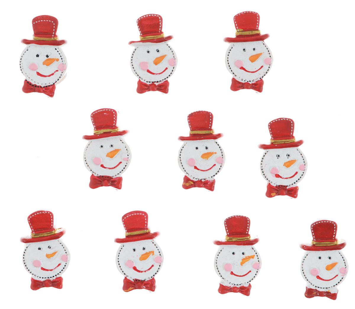 """Декоративные украшения Lunten Ranta """"Снеговик в шляпе"""" изготовлены из полирезина и прекрасно подойдут для декора любой поверхности. Их можно использовать для украшения фотоальбомов, подарков, конвертов и многого другого. В наборе - 10 украшений, которые крепятся к поверхности благодаря бумаге на клейкой основе с обратной стороны изделия.Творчество, рукоделие способно приносить массу приятных эмоций не только человеку, который этим занимается, но и его близким, друзьям, родным.Размер украшения: 3 см х 1.7 см х 0,8 см."""