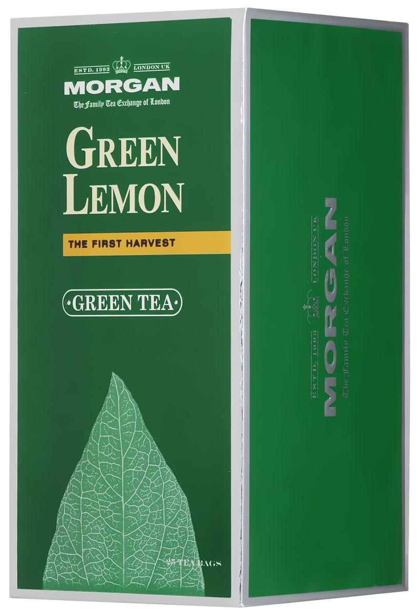 Morgan Green Lemon чай зеленый в пакетиках, 25 шт4607141334337Morgan Green Lemon сочетает в себе кусочки цедры лимона и листья зеленого китайского чая, собранные на высокогорных плантациях провинции Юннань. Цитрусовый аромат превосходно оттеняет вкус классического зеленого чая, которым вы можете насладиться в любое время дня.