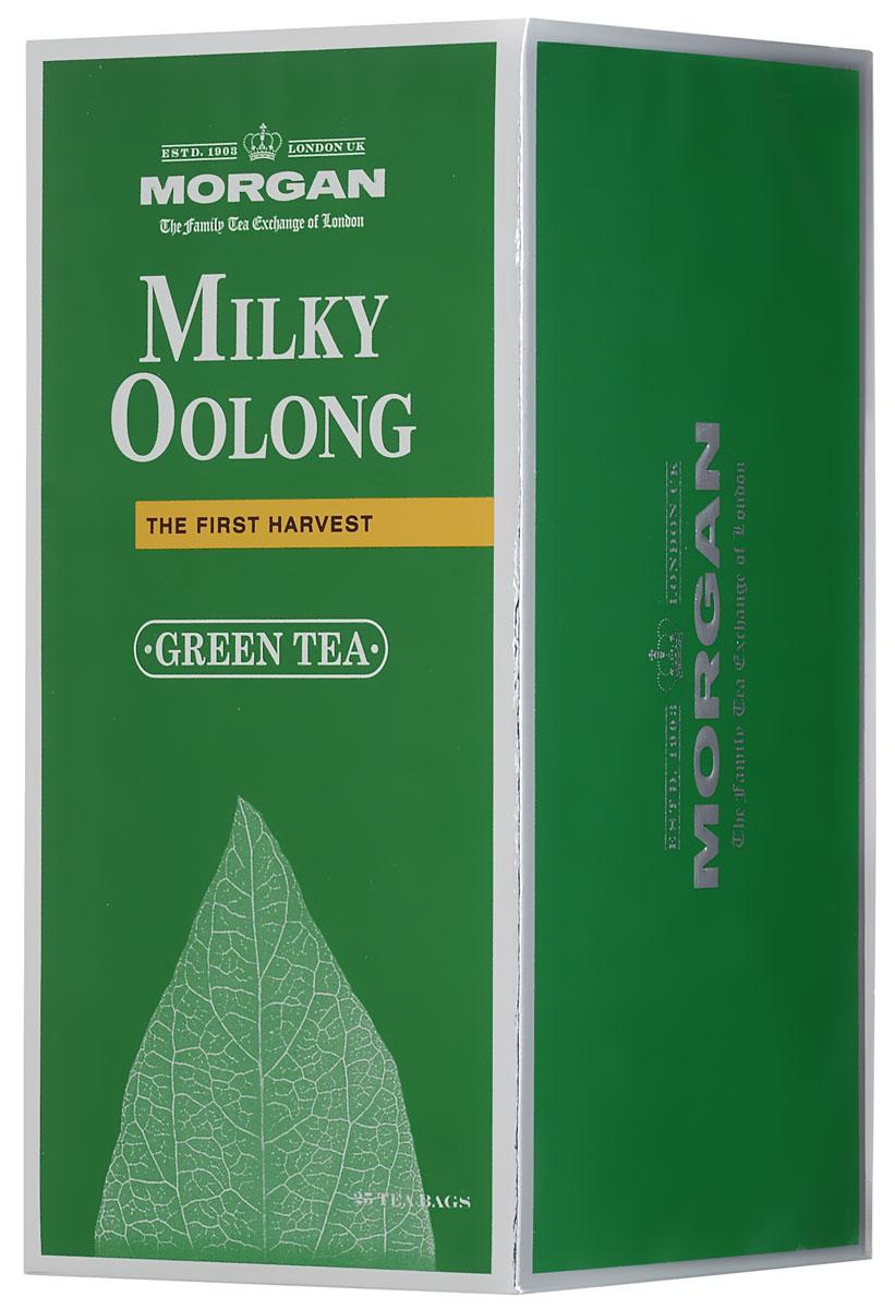 Morgan Milky Oolong чай зеленый в пакетиках, 25 шт4607141338946Чай Morgan Milky Oolongгармонично совмещает в себе освежающий аромат зеленого чая Улун с оттенками молока в длительном послевкусии. Древние китайцы считали улун источником жизненной энергии. Улун - вершина чайной культуры Китая. Благодаря своему отборному качеству, неповторимому вкусу и древней истории он является одним из самых известных сортов чая, выращиваемых на знаменитых китайских плантациях.