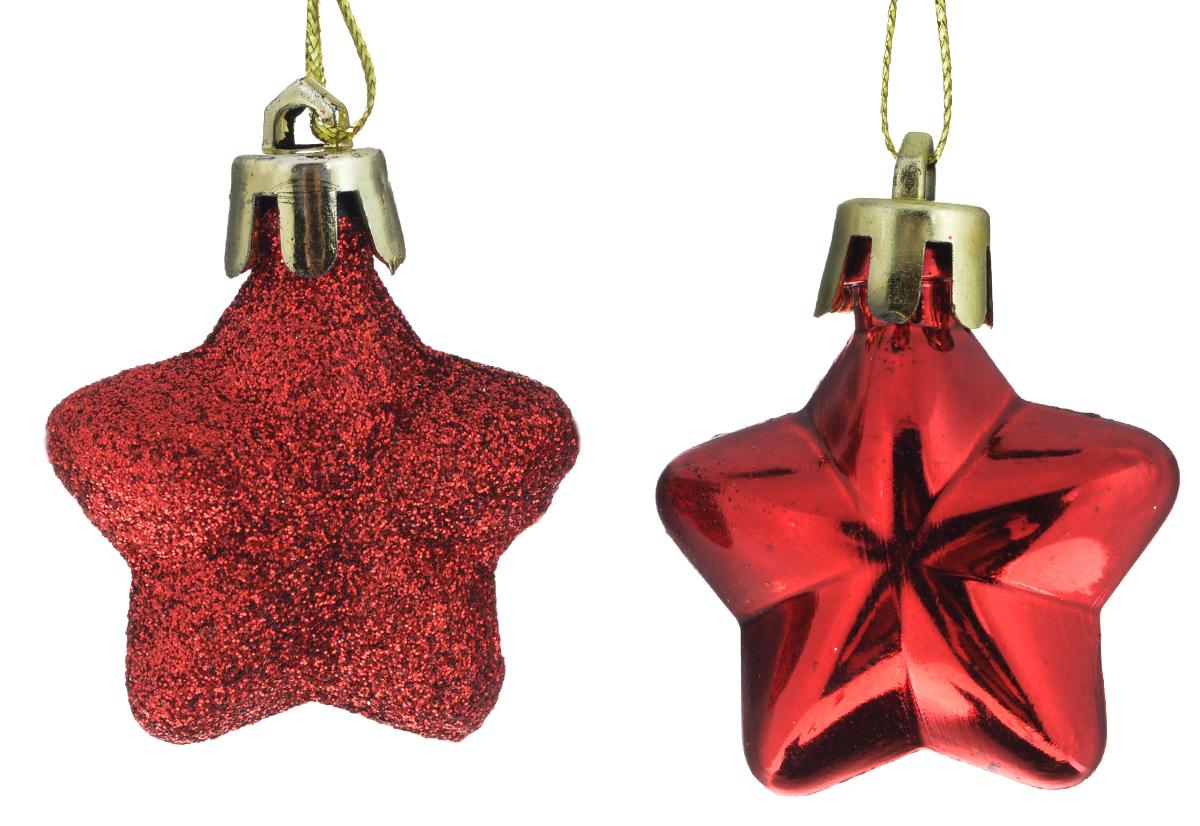 Новогоднее подвесное украшение Феникс-презент Звезда, цвет: красный, 4 х 5 см, 2 шт39024Новогоднее украшение Феникс-презент Звезда отлично подойдет для декорации вашего дома и новогодней ели. Изделие выполнено из пластика в форме многогранной звезды. С помощью специальной петельки украшение можно повесить в любом понравившемся вам месте. Новогодние украшения несут в себе волшебство и красоту праздника. Они помогут вам украсить дом к предстоящим праздникам и оживить интерьер по вашему вкусу. Создайте в доме атмосферу тепла, веселья и радости, украшая его всей семьей. Коллекция декоративных украшений из серии Magic Time принесет в ваш дом ни с чем не сравнимое ощущение волшебства!Размер украшения: 4 см х 5 см х 1,5 см.